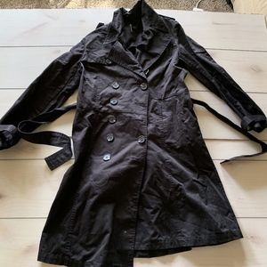 womens 42 nafnaf trench coat black flare